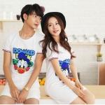 ชุดคู่รักสไตล์เกาหลี ลายโรนัลดัก สีขาว ชายเป็นเสื้อยืด หญิงเป็นเดรส น่ารักมากค่ะ