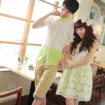 ชุดคู่รักใส่ออกงาน เดรสหญิงลูกไม้ +เชิตชาย สีเขียวขาว สุดน่ารัก