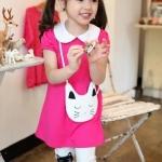 ชุดกางเกง เสื้อสีชมพูแขนตุ๊กตา+กางเกงสีขาวปักลายแมวเหมียว