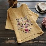 P26541 เสื้อแฟชั่น ผ้าฝ้ายเนื้อลินิน ไหล่ตก สีน้ำตาลอ่อน ปักดอกไม้