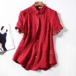 P27131 เสื้อแฟชั่นคอปก กระดุมหน้า ผ้าฝ้ายเนื้อดี สีกรมท่า แดง ชมพู