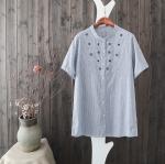 P24551 เสื้อแฟชั่นตัวยาว กระดุมหน้า ผ้าฝ้ายเนื้อดีลายริ้ว สีน้ำเงิน ปักลายหัวใจ