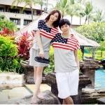ชุดคู่รักสไตล์เกาหลี ลายธงชาติอเมริกา