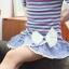 ชุดกางเกงกระโปรง เสื้อลายทางสีม่วง แขนเสื้อแต่งดอกไม้+กางเกงกระโปรง thumbnail 3