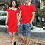 ชุดคู่รักแฟชั่นไสตล์เกาหลี ผู้หญิงเป็นเดรสทรงตรง+ผู้ชายเป็นเสื้อเชิ้ตคอปก สีเเดง thumbnail 1