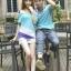 ชุดคู่รักแฟชั่นไสตล์เกาหลี เสื้อแขนเปิดไหล่ สีฟ้าน่ารัก + เสื้อยืดชาย ผ้านิ่ม ใส่สบายมาก ๆ thumbnail 7