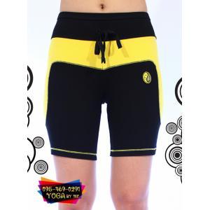 กางเกงโยคะขาสั้น 2 ส่วน AC201 สีดำ/เหลือง