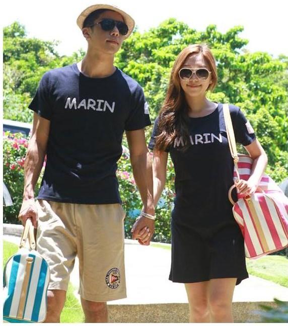 ชุดคู่รักแฟชั่นสไตล์เกาหลี เสื้อยืด +เดรส ลาย MARIN สุดเก๋ มี 2 สี เทา น้ำเงิน
