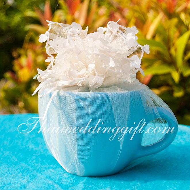แก้วกาแฟ ทรงอ้วน สีฟ้า แพ็คถุงฟูขอบหัวใจครีม