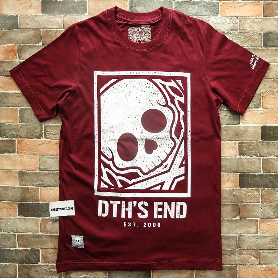 เสื้อยืดแฟชั่น Death's end skull frame สีแดงเลือดหมู