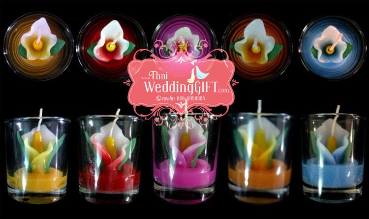 เทียนหอมดอกคัลล่าบรรจุในแก้วใส แพ็คถุงแก้ว ผูกเชือกพร้อมใบไม้
