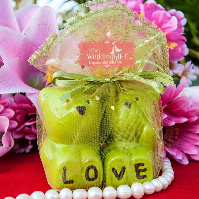 กระปุกพริกไทย เซรามิค รูปหมีคู่ LOVE แพ็คถุงฟู กากเพชร