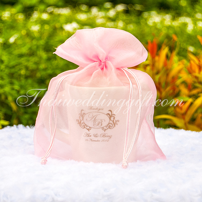 แก้วกาแฟ สกรีน 1 สี แพ็คถุงผ้าไหมแก้วสีชมพู