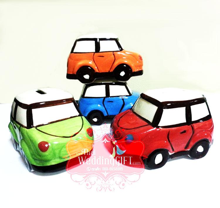 รถมินิออมสินเพ้นสี คละสี แพ็คกล่อง , ถุงผ้าแก้ว