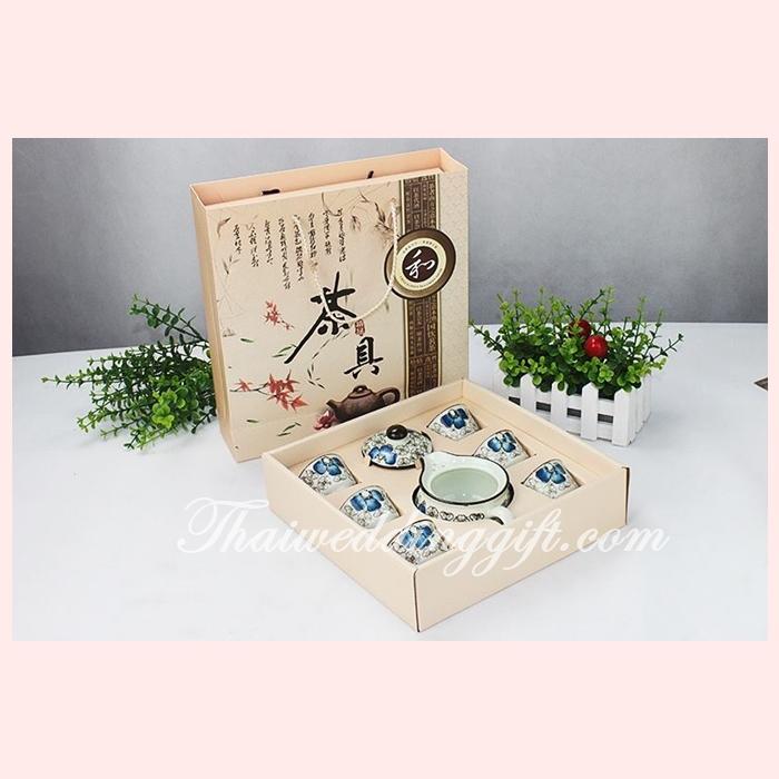 ชุดกาน้ำชาพร้อมถ้วย 6 ใบ เนื้อดี สีฟ้า แพ็คกล่องสวยหรู