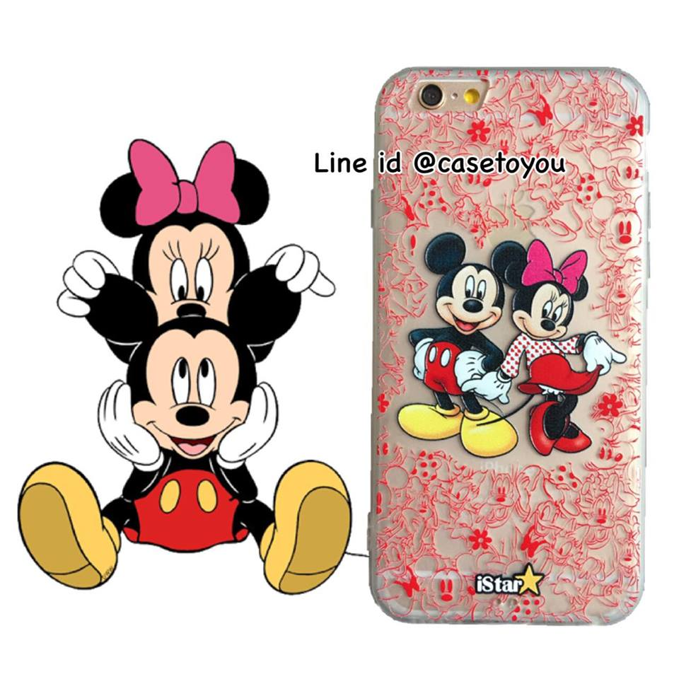 เคสใส สกรีนลายเส้นนูน Mickey&Minnie Mouse iPhone 6 Plus/ 6S Plus