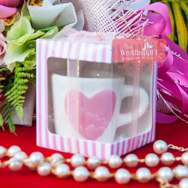 แก้วกาแฟคาปู ลายหัวใจนูน 2 ด้าน แพ็คกล่อง