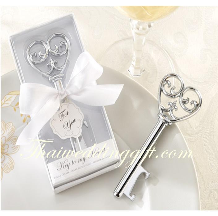 ที่เปิดขวดโลหะอย่างดี รูปกุญแจหัวใจ (นำเข้า) แพ็คกล่องสีขาว ผูกโบว์ พร้อมป้ายชื่อฟรี
