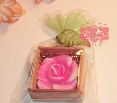 เทียนงานแต่ง ดอกกุหลาบ แพ็คกล่องไม้