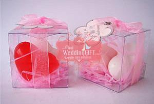 สบู่หอมหัวใจแต่งงาน ประดิษฐ์ในกล่องพลาสติกใสผูกโบว์