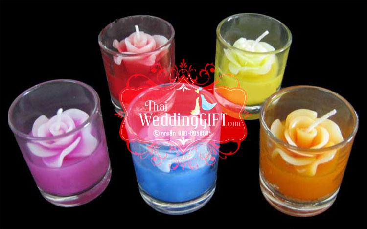 เทียนหอมดอกกุหลาบ ดอกตูม และดอกบาน บรรจุในแก้วใส แพ็คถุงแก้ว ผูกโบว์