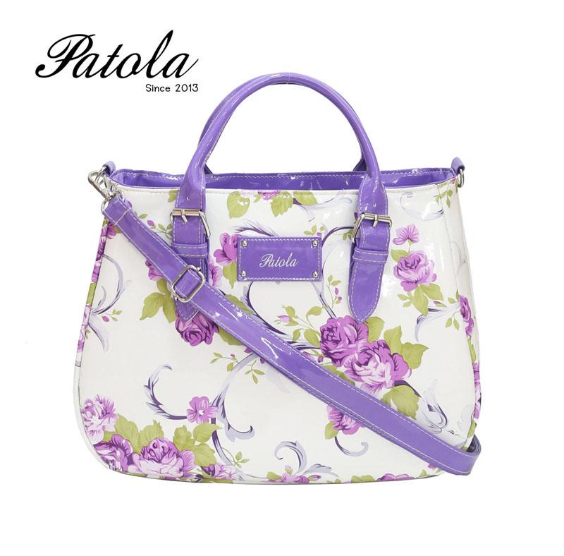 กระเป๋า Patola รุ่น AP หนังแก้วลายไม้ดอกสีม่วง