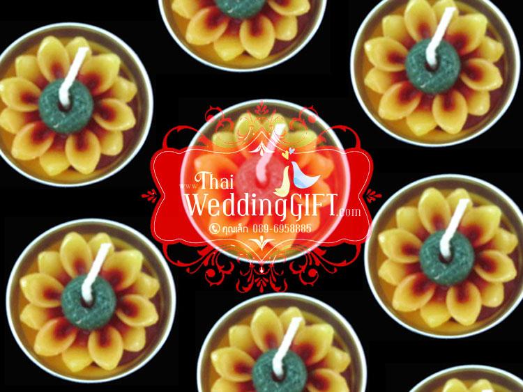 เทียนหอมดอกทานตะวัน บรรจุในถ้วยทีไลท์ (ถ้วยอลูมิเนียม) แพ็คถุงแก้ว ผูกโบว์