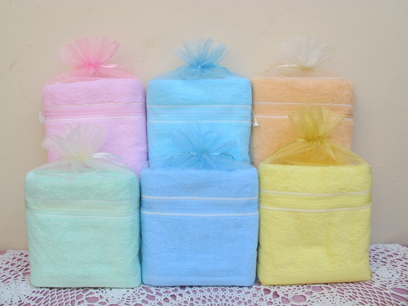 ผ้าขนหนู cotton 100% แพ็คถุงไหมแก้ว พร้อมป้ายชื่อ