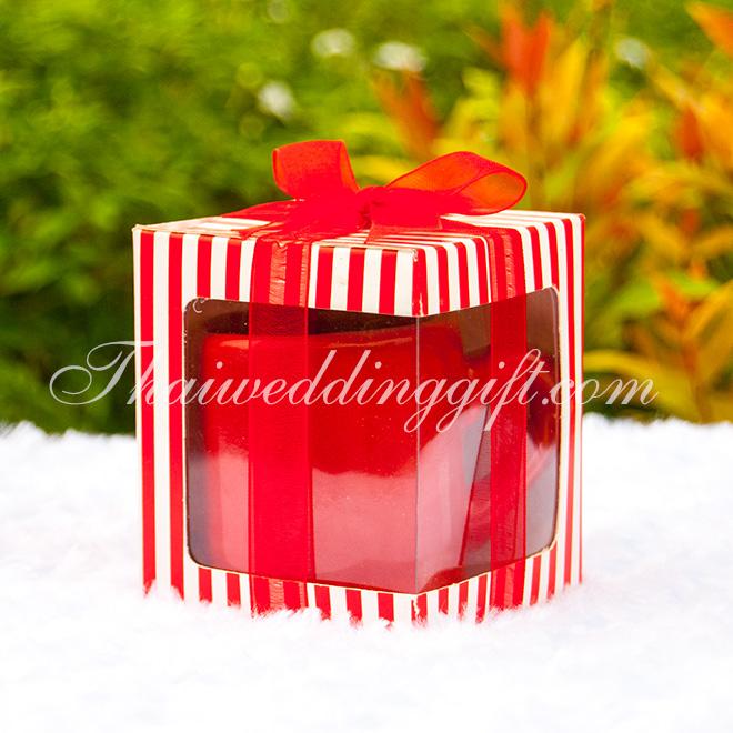 แก้วกาแฟเล็ก สีแดง แพ็คกล่อง ผูกโบว์
