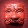 หน้ากากพรานบุญ ครูใหญ่ สีแดง เนื้อว่าน ไม่ทราบที่