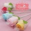 ดอกกุหลาบผ้านาโน ขนาด 12x12 นิ้ว แพ็คถุงตาข่าย ผูกโบว์พร้อมป้ายชื่อฟรี