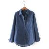 P31231 เสื้อแฟชั่นคอปก กระดุมหน้า ผ้ายีนส์เนื้อดี สีน้ำเงินเข้ม