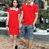 ชุดคู่รักแฟชั่นไสตล์เกาหลี ผู้หญิงเป็นเดรสทรงตรง+ผู้ชายเป็นเสื้อเชิ้ตคอปก สีเเดง