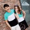 ชุดคู่รัก เสื้อคู่รักแขนกุด+เสื้อยืด ลายขวางใหญ่ สลับสีสุดน่ารักสีฟ้า พร้อมส่ง