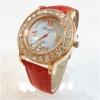 Geneva Quartz watches women นาฬิกาผู้หญิง แบรนด์ของฮ่องกง ระบบควอทด์ กันน้ำ กันสนิม สีแดง