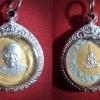 เหรียญลงยา พ่นทราย หลวงพ่อจาด ปีที่ 126 แห่งอายุขัย วัดบางกระเบา จ.ปราจีนบุรี ปี2540 พร้อมกรอบ