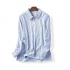 P3137 เสื้อแฟชั่นแขนยาว ซิบบน ผ้าฝ้ายเนื้อนิ่ม สีขาวริ้วดำ