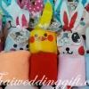 ผ้าขนหนูนาโน คละสี แพ็คถุงผ้าผูกหูกระต่ายลายน่ารัก