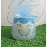 แก้วเพ้นท์หน้าตุ๊กตา สีฟ้า พร้อมจานรอง แพ็คถุงผ้าแก้ว