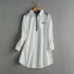 P5861 เสื้อเชิ้ตตัวยาว ผ้าฝ้ายเนื้อดีปกเชิ้ต สีขาว แขนพับได้
