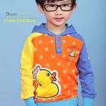 Huanzhu เสื้อแขนยาวสีส้ม ฮูดสีน้ำเงิน