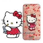 เคสใส สกรีนลายเส้นนูน Kitty iPhone 5/5S/SE