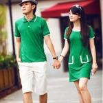 ชุดคู่รัก ผู้ชายเป็นเสื้อโปโล+ผู้หญิงเปนเดรสสั้นสีเขียวแขนตุ๊กตาสุดน่ารัก