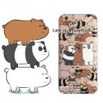 เคสใส สกรีนลายเส้นนูน Bare Bear iPhone 5/5S/SE