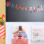 ธงวันปาร์ตี้ Happy party