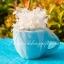 แก้วกาแฟ ทรงอ้วน สีฟ้า แพ็คถุงฟูขอบหัวใจครีม thumbnail 1