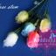 เทียนหอมดอกกุหลาบมีก้าน ดอกตูมและดอกบาน แพ็คถุงแก้ว ผูกเชือกพร้อมใบไม้ thumbnail 2