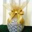 โถข้าว 6 นิ้ว ห่อผ้าลายทอง ผูกโบว์ติดดอกไม้ พร้อมป้ายชื่อ thumbnail 1