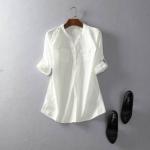 P441095 เสื้อแฟชั่นแขนยาวคอวี ผ้าฝ้ายเนื้อดีสีขาว