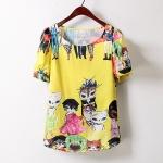 P38509 เสื้อแฟชั่น ผ้าฝ้ายเนื้อดีพิมพ์ลายแมวยืน สีเหลือง